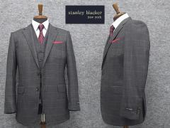 [STANLEY BLACKER] スタンリーブラッカー スリーピース 段返り3釦シングルスーツ グレー系格子 [A体][AB体]両面ベスト