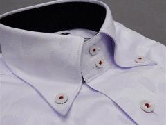 [758Bespoke.J] [FATTURA] 長袖ワイシャツ 薄ラベンダー/ペイズリー柄 綿100% 日本製 ボタンダウン ドレスシャツ BSJ7602-3