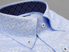 [758Bespoke.J] [FATTURA] 長袖ワイシャツ 薄ブルー地 綿100% 日本製 ボタンダウン メンズドレスシャツ BSJ7603-2