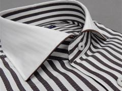 [758Bespoke.J] [FATTURA] 長袖ワイシャツ 白×茶グレー クレリック 綿100% 日本製 カッタウェイ ドレスシャツ BSJ7605-2