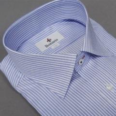 [BONARIO] ワイシャツ スリムフィット ボタンダウン 長袖 ブルー×白縞 綿100% 形態安定 本縫い ドレスシャツ bon13-450