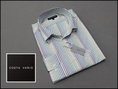 ■high-gradeドレスシャツ■COSTA VARIO■長袖■白地縞■イタリアン衿■ボタンダウン■日本製■綿100% cos384-21
