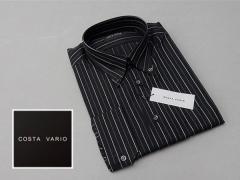 ■high-gradeドレスシャツ■COSTA VARIO■長袖■黒縞■ボタンダウン■日本製■綿100% cos388-34