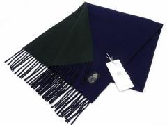 日本製 ウールマフラー 紺/緑 2重織 リバーシブル ウールマーク付 メール便可 AK1100-06