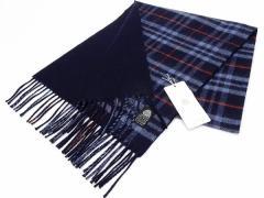 日本製 ウールマフラー 紺系チェック/裏:紺 2重織 リバーシブル ウールマーク付 メール便可 AK1124-02