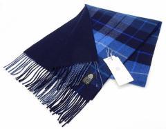 日本製 ウールマフラー 青系チェック/裏:紺 2重織 リバーシブル ウールマーク付 メール便可 AK1124-04