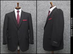 秋冬物 ビッグサイズ 2パンツ ベーシック2釦シングルスーツ 黒系小格子 [E体] メンズスーツ SE48121-E