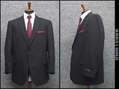 秋冬物 ビッグサイズ 2パンツ ベーシック2釦シングルスーツ 紺系ストライプ [E体] メンズスーツ SE48122-E