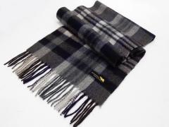 マフラー ラムウール100% 黒×グレー×白ベージュ×ワイン×チョコ×紫×紺 チェック WMF90 メール便可