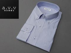 [a.v.v HOMME]長袖ドレスシャツ 白×青/ドビー縞 マイター衿 ボタンダウン 形態安定 ビッグサイズ メンズ 3L/4L/5L avv-big15