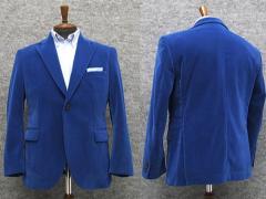 マイクロベルベット のびのびニット素材 セミスタイリッシュジャケット 青 シングル2釦 [AB体] 秋冬物 WE18