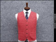 [FIDATO] ニットベスト ジレ ローズピンク 手編み風 ウール混  メンズ/GS250709-18