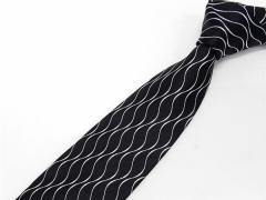 京都西陣織 ネクタイ シルク100% 黒×白銀/波線ストライプ フォーマル兼用 メール便OK NJT04