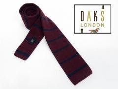 ◇DAKS◇イタリア製ネクタイ◇ニットタイ◇ダークワイン系◇ボーダー◇ウール100%◇ダックス DAKS11