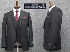 秋冬物 3ピーススーツ [Ermenegildo Zegna]ゼニア生地 Heritage使用 [YA体][A体] スタイリッシュ2釦スーツ グレー縞 EZP14