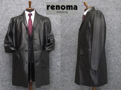 [renoma] レノマPARIS レザーコート ラム革 シングルチェスターコート[A体〜AB体対応]  黒系 イタリアンレザー RMK701 メンズ