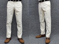 極細スリムノータック 綿パン 日本製 のびのび素材 秋冬春 白系 ウォッシャブル ビジカジパンツ 76cm-88cm WDP002-D
