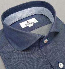 [BONARIO] ワイシャツ スリムフィット ラウンドチップカラー 長袖 藍紺 綿100% 形態安定 ドレスシャツ bon01-255