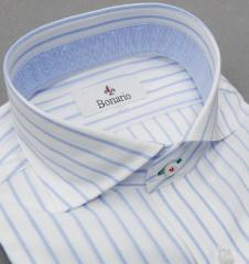 [BONARIO] ワイシャツ スリムフィット ワイドカラー 長袖 白地 ストライプ 綿100% 形態安定 ドレスシャツ bon01-350