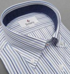 [BONARIO] ワイシャツ スリムフィット 衿ボタンダウン 長袖 白地 ストライプ  綿100% 形態安定 ドレスシャツ bon01-355