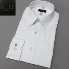 [ELLE costumes] ワイシャツ 長袖 レギュラーカラー 白地/幾何柄ドビー 形態安定 ドレスシャツ EL301-280