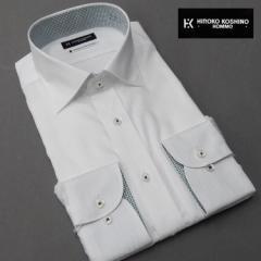 ■HIROKO KOSHINO(ヒロココシノ)■長袖ドレスシャツ ワイドスプレッドカラー 白 ドビーストライプ 形態安定 HRK-01