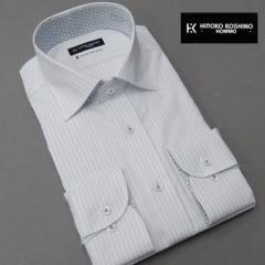 ■HIROKO KOSHINO(ヒロココシノ)■長袖ドレスシャツ ワイドスプレッドカラー 白×青 ドビーストライプ 形態安定 HRK-13