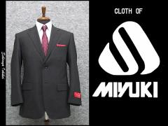 春夏物 [MIYUKI] ミユキ ベーシック2釦シングルスーツ 濃グレー系ストライプ [AB体] MK101-2