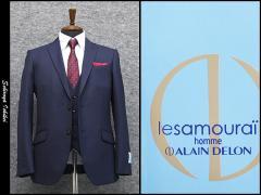 [le samourai homme ALAIN DELON] サムライ スリーピース スタイリッシュ2釦シングルスーツ 紺ドット[A体][AB体]3ピース SMR7268