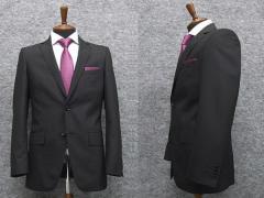 春夏物 スタイリッシュ2釦シングルスーツ 黒系ダブルストライプ [YA体] メンズスーツ TK10-2096