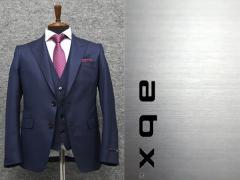 abx スリーピーススーツ ピーク衿 通年物 紺/小紋 スタイリッシュ2釦スーツ [Y体][A体] メンズ 3ピース スーツ abx8227-88