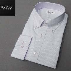 [a.v.v HOMME]長袖ドレスシャツ 白地/ピンク&青系縞 ボタンダウン 形態安定 ビッグサイズ メンズ 3L/4L/5L avv-big410