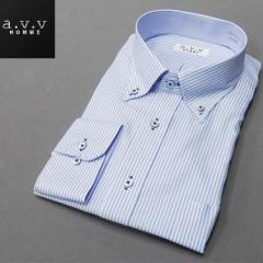 [a.v.v HOMME]長袖ドレスシャツ 白/青縞 ボタンダウン 形態安定 ビッグサイズ メンズ 3L/4L/5L avv-big450