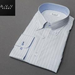 [a.v.v HOMME]長袖ドレスシャツ 白地/紺&緑縞 ボタンダウン 形態安定 ビッグサイズ メンズ 3L/4L/5L avv-big455
