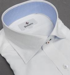 [BONARIO] ワイシャツ スリムフィット ワイドカラー 長袖 白 チェック 綿100% 形態安定 ドレスシャツ bon15-200