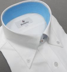 [BONARIO] ワイシャツ スリムフィット ボタンダウン 長袖 白 ネット柄 綿100% 形態安定 ドレスシャツ bon15-201