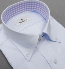 [BONARIO] ワイシャツ スリムフィット ボタンダウン 長袖 薄青藤 変則市松模様 綿100% 形態安定 ドレスシャツ bon15-251