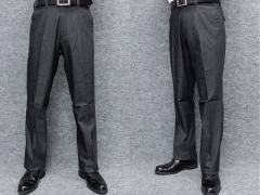 ★すっきりノータック のびのび素材+ウエスト スラックス 春夏秋 炭黒 無地 ビジカジパンツ 76cm-105cm OS3812-1