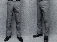 ★すっきりノータック のびのび素材+ウエスト スラックス 春夏秋 グレー 無地 ビジカジパンツ 76cm-105cm OS3812-2
