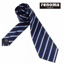◇renoma◇イタリア製ネクタイ◇濃紺◇ストライプ◇シルク100%◇メール便可 REN26 レノマ