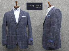 春夏物 [STANLEY BLACKER] スタンリーブラッカー 3釦段返りシングルジャケット 藍紺/格子 [A体][AB体][BB体] SBK80501-88