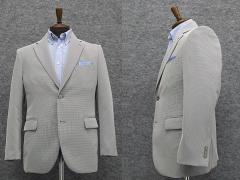 春夏物 清涼素材 ベーシック2釦ジャケット 白黒小格子 WE8222-D