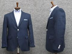 春夏物 麻100% ベーシック2釦ジャケット 青藍紺 WE8333-A