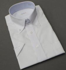 半袖ドレスシャツ color navi クールビズ ドゥエ/ボタンダウン 白 ドビーダイヤ格子 形態安定 接触冷感 吸水速乾 CN01