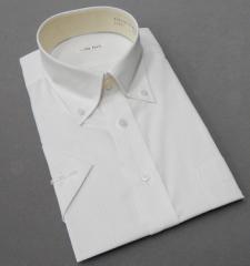 半袖ドレスシャツ color navi クールビズ ボタンダウン 白地×黄 ストライプ 形態安定 接触冷感 吸水速乾 CN10