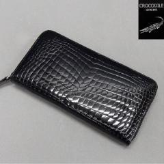〓天然皮革〓メンズ長財布◆スモールクロコダイル革◆黒◆シャイニング◆ラウンドファスナー◆日本製/WL11-BK