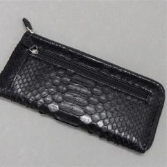 〓天然皮革〓メンズ長財布◆パイソン・ニシキヘビ革◆黒◆L字ファスナー◆金運上昇◆WL8-BK