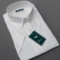 半袖ドレスシャツ [Ken COLLECTION] ボタンダウン 白 ドビーストライプ 綿100% 形態安定 高級縫製 ken01