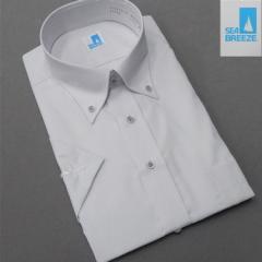 [SEA BREEZE] 半袖/ワイシャツ 白×薄グレー/ストライプ ボタンダウン 形態安定 吸水速乾 クールビズ SEA07