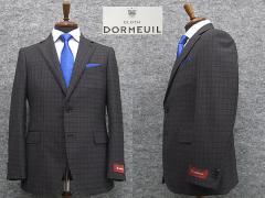 通年物 英国生地 [DORMEUIL]ドーメル  スタイリッシュ2釦シングルスーツ 濃グレー/中格子 [AB体][BE体] HL3201